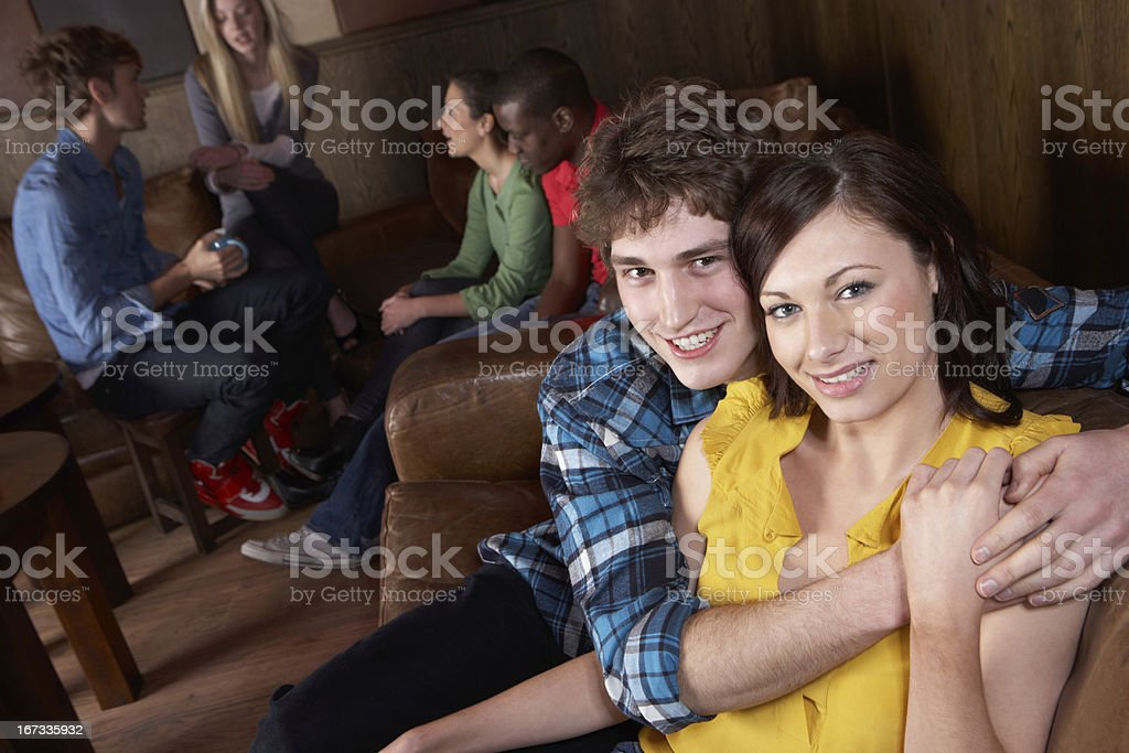 Young happy couple in cafe royalty-free stock photo