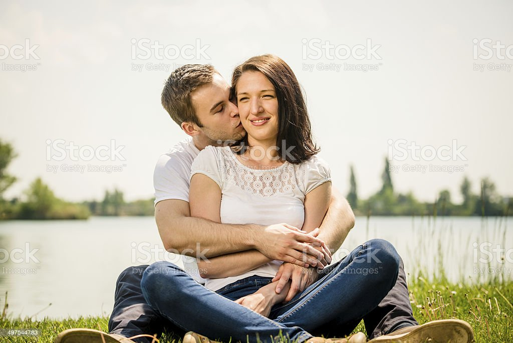 Young happy couple in nature royalty-free stock photo