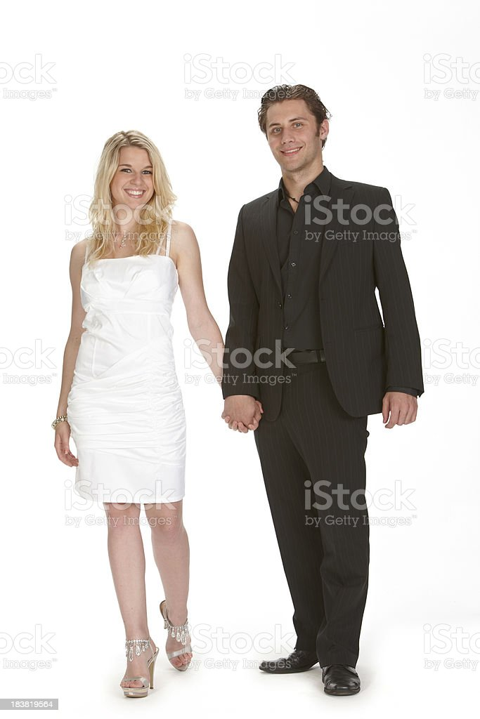 Young happy couple walking royalty-free stock photo