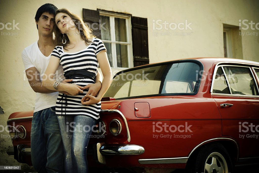 Young Happy Couple With Old Style Car Stock Photo Download Image Now Istock
