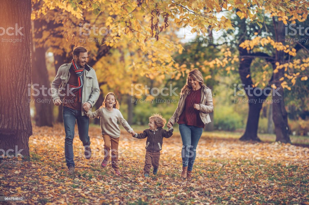 Young happy family holding hands and having fun while running together at the park. royalty-free stock photo