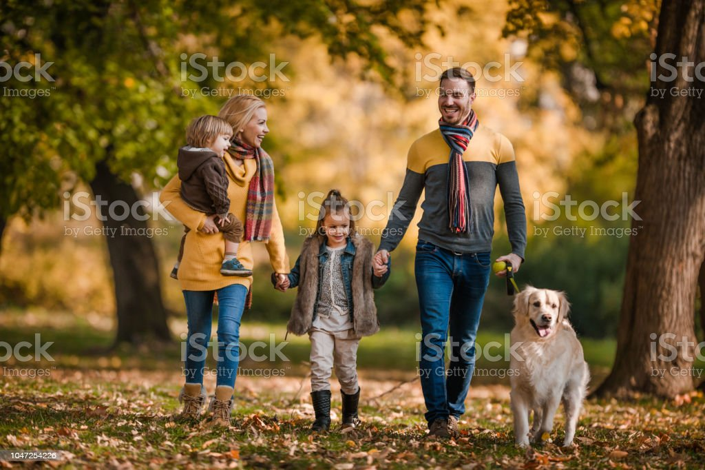 Full length of happy family holding hands while walking their dog in...