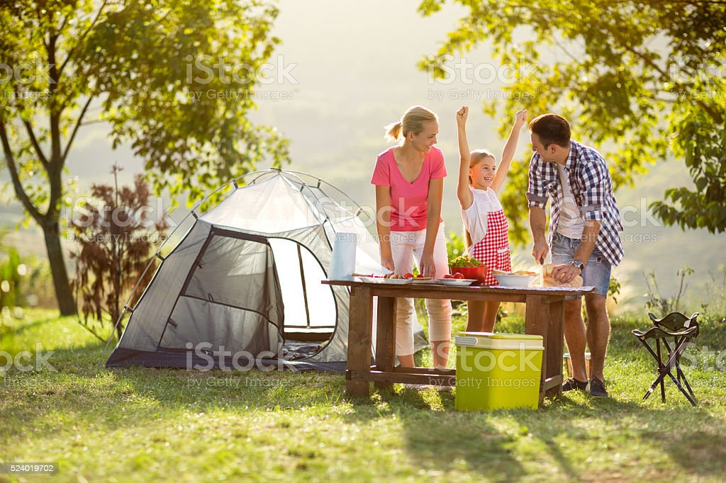 young happy family on vacation stock photo