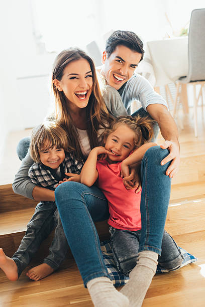 Young happy family stock photo