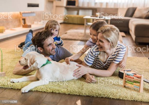 Young happy family relaxing with their puppy on carpet at home picture id1127715285?b=1&k=6&m=1127715285&s=612x612&h=eauoeusxhylysaicqlmqig1oa9uc0uqerhg8qwlrbq4=