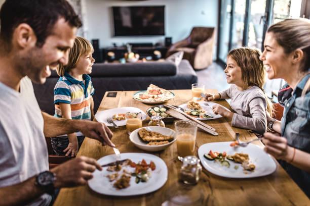 Young happy family talking while having lunch at dining table picture id1132278686?b=1&k=6&m=1132278686&s=612x612&w=0&h=nol78iuuxjzdw0j9k 0enpfvmw9uk2vo nen1aqehvu=