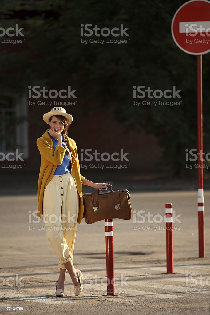 Young happy funny dressed woman royalty-free stock photo
