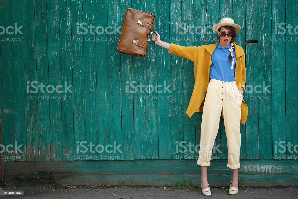 Young happy funny dressed woman stock photo