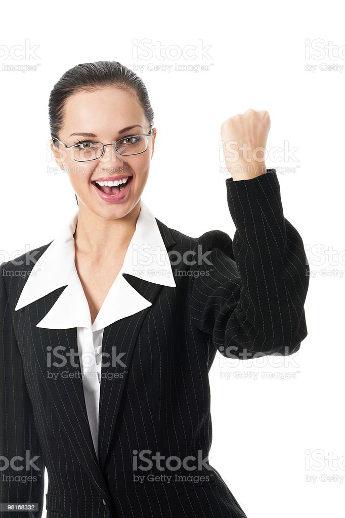 Young happy gesturing businesswoman, isolated on white royalty-free stock photo