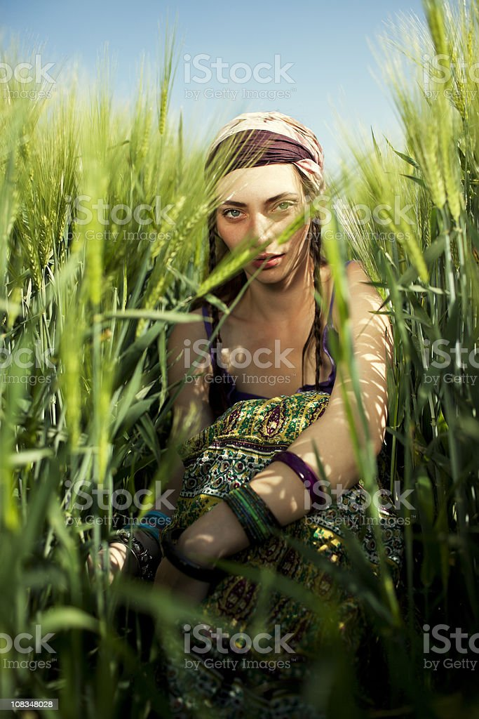 young happy hippie woman in nature royalty-free stock photo