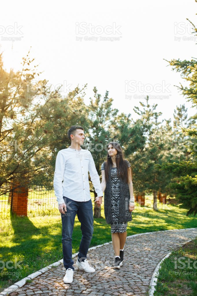 young, happy, loving couple, walk by the hands in the Park, and enjoy each other, advertising, and inserting text royalty-free stock photo