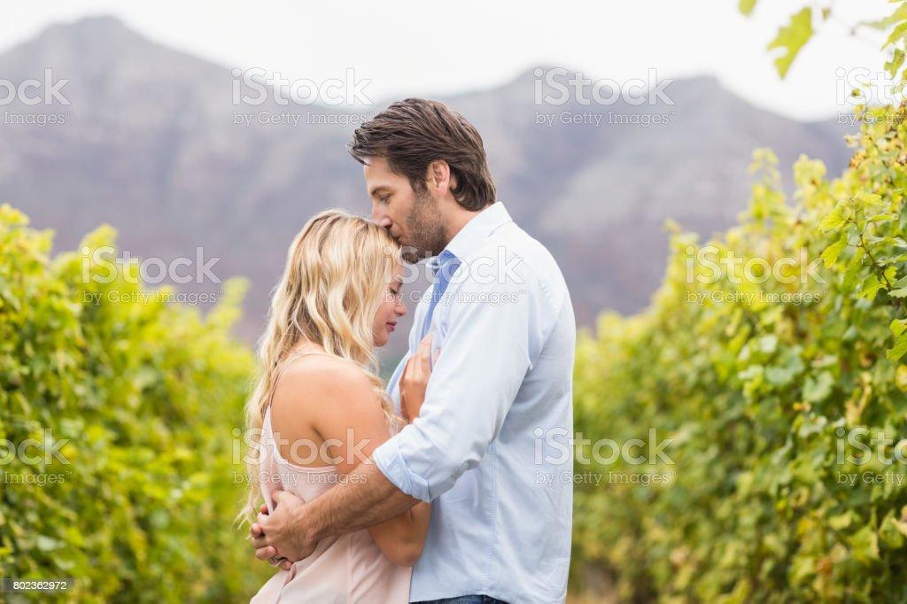 Feliz joven mujer de besos en la frente - foto de stock