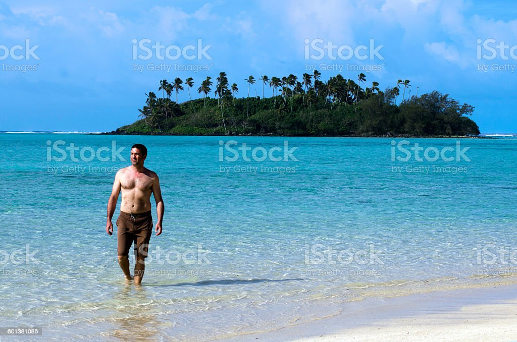 Young happy man on Vacation in Pacific Island stock photo