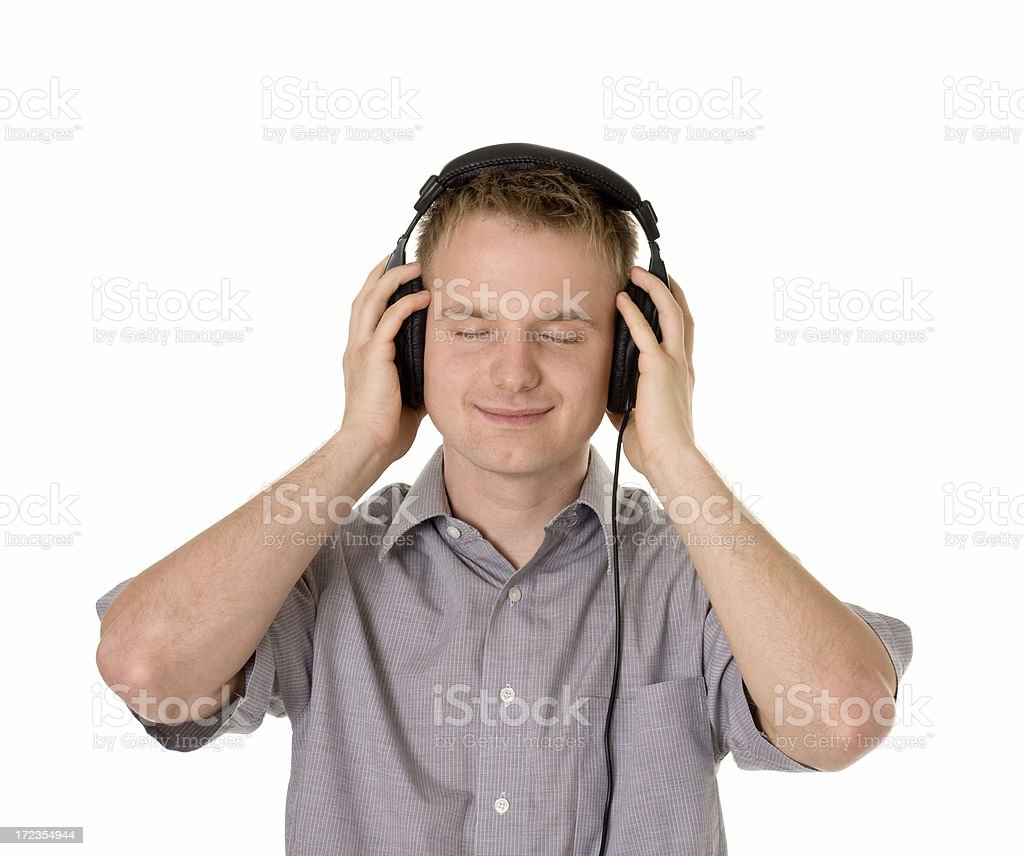 young happy man withe auriculares foto de stock libre de derechos