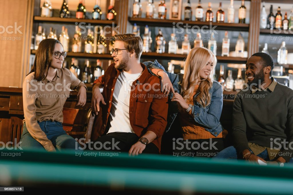 young happy multiculture friends together at bar - Royalty-free Adult Stock Photo