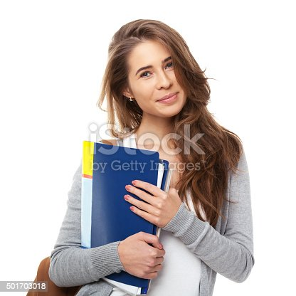 istock Young happy student with books isolated. 501703018