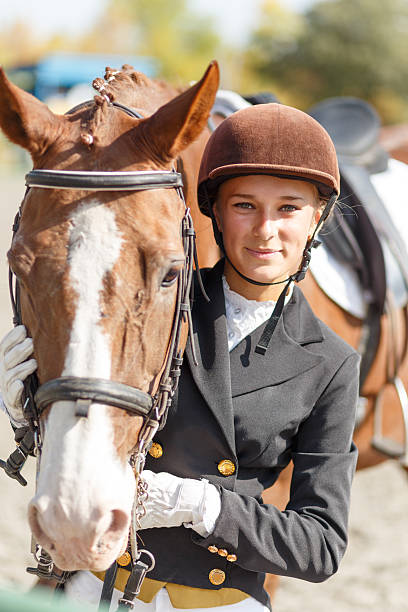 Young happy teenage rider girl with horse – Foto