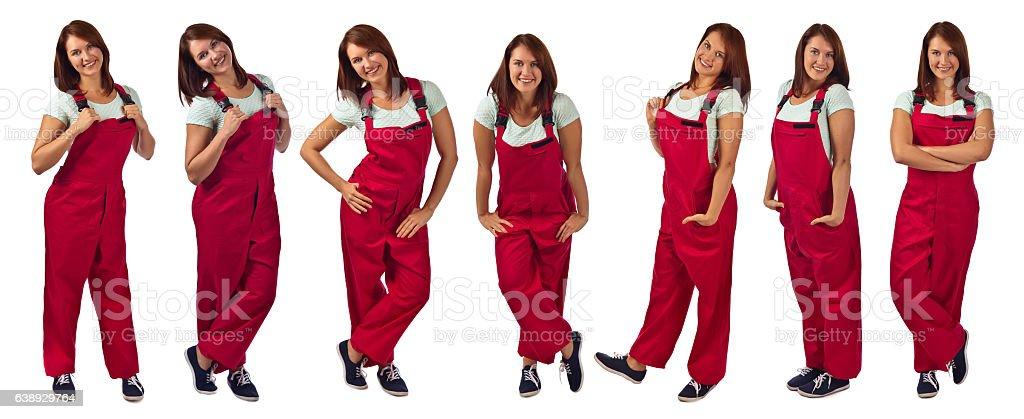 Young happy woman in red jumpsuit , isolated on white stock photo
