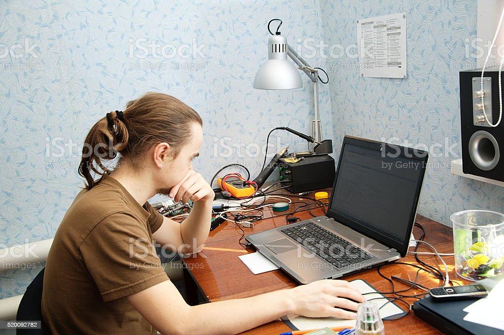 Young hardware engeneer stock photo