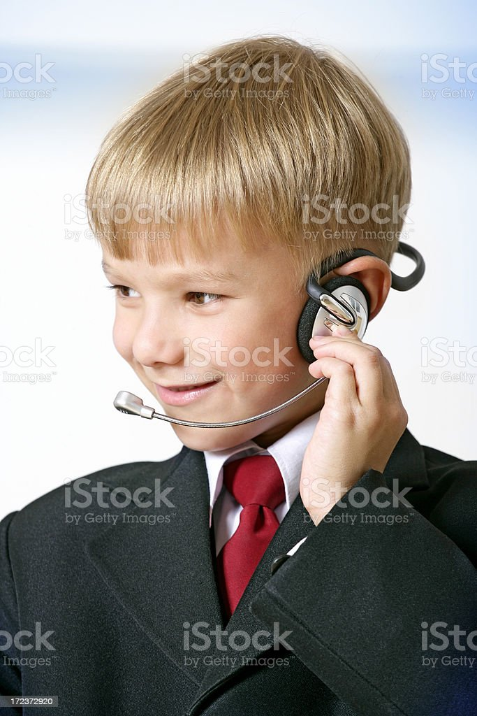 Young headset operator royalty-free stock photo