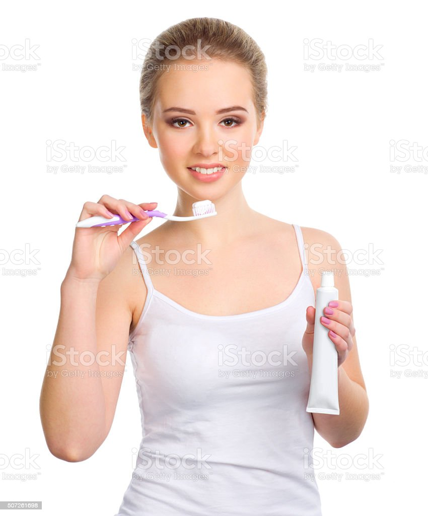 Young healthy girl with toothbrush stock photo