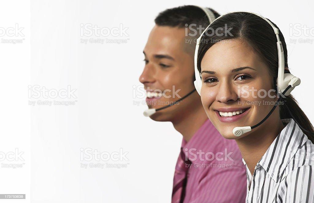 Young helpdesk operators stock photo