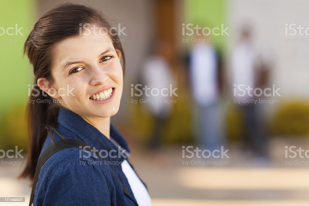 young high school girl smiling royalty-free stock photo