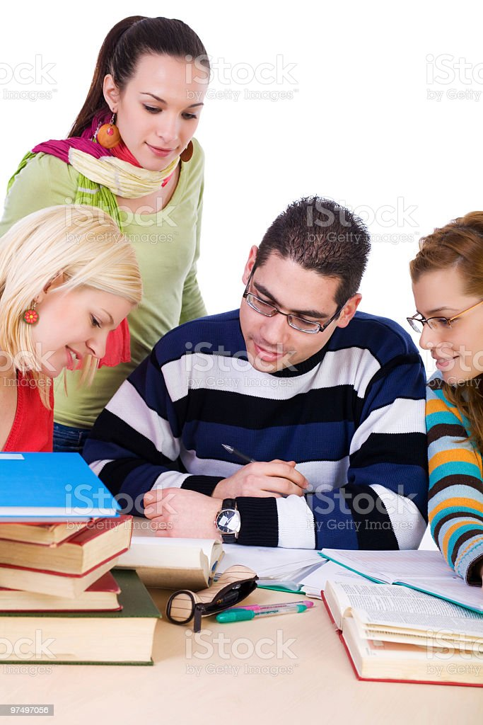 Young high school students studying together royalty-free stock photo