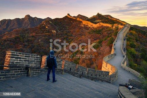 Young hiker at Great wall ,Beijing,China
