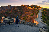 Young hiker at Great wall ,Beijing,China
