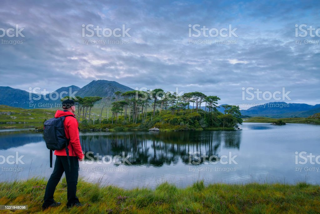Young hiker at the Pine Island in Derryclare Lough stock photo