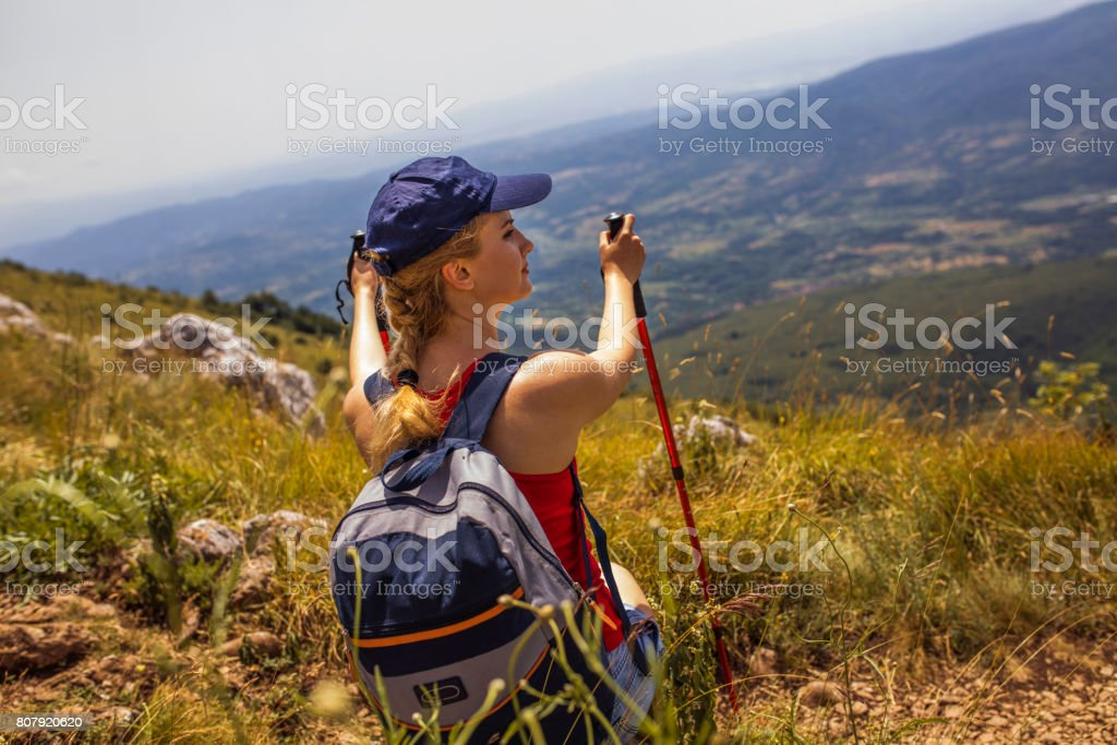Young hiker enjoy in nature stock photo