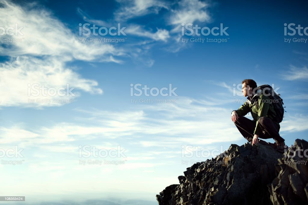 Young Hiker On Cliff Edge royalty-free stock photo