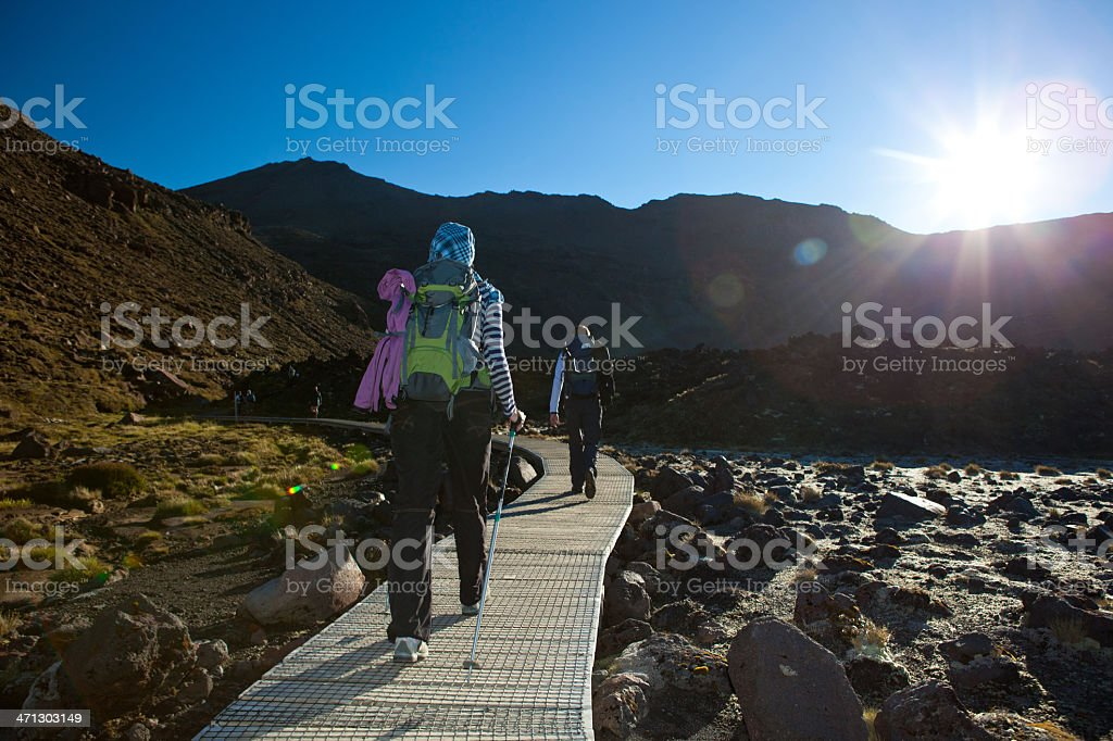 Young hikers in the Tongariro National Park, New Zealand stock photo