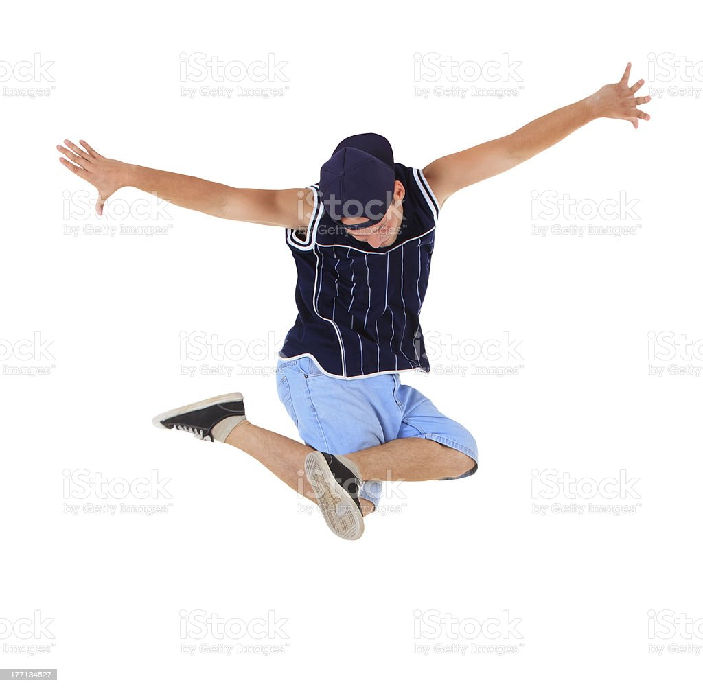 Young hip-hop dancer over white royalty-free stock photo