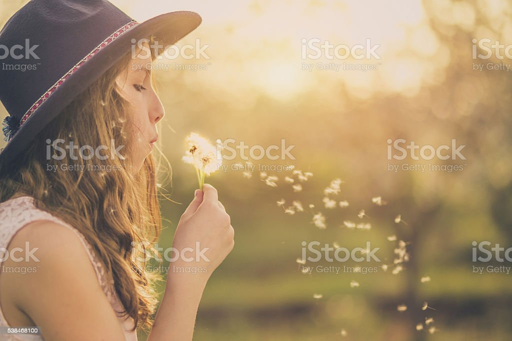 Young hippie girl blowing dandelion outside stock photo