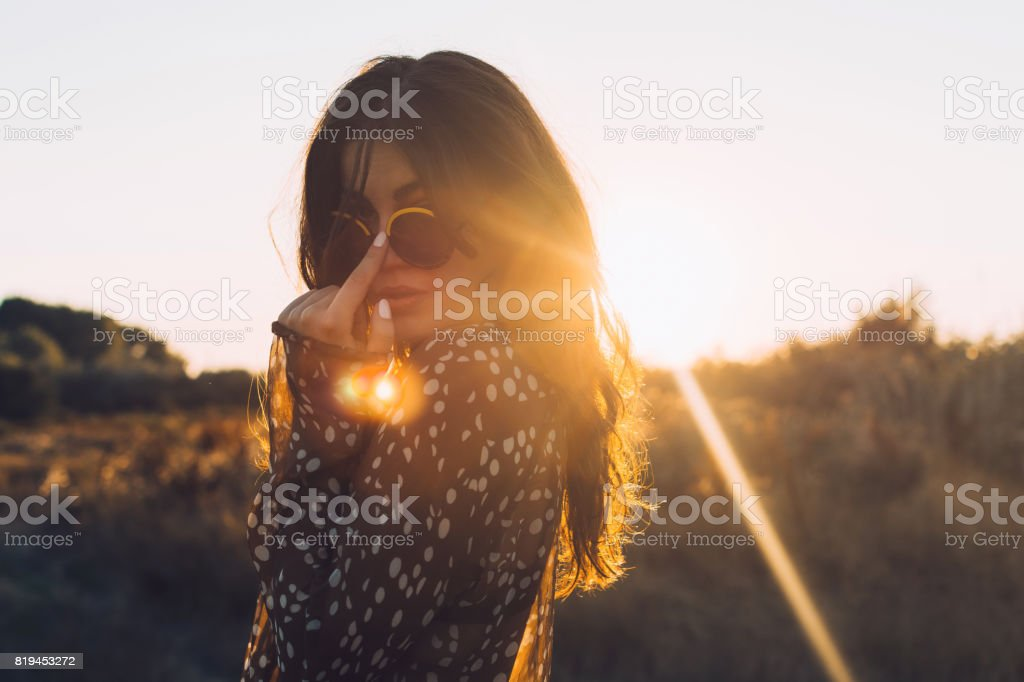 Young hippie girl stock photo
