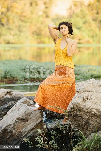 Young Hippie Woman With Natural Hairy Armpits In Nature -2869