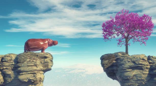 Junge Nilpferde auf einem Berggipfel mit Blick auf einen Blumenbaum auf der anderen Seite. Dies ist eine 3D-Render-Illustration . – Foto