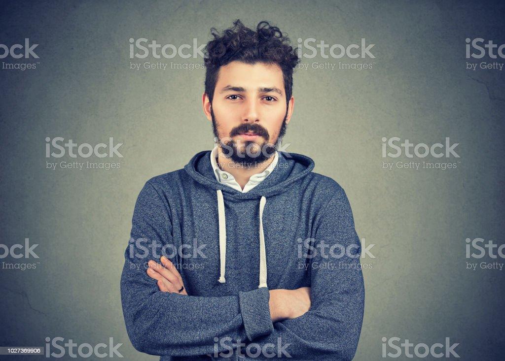 Young Hipster Beard Man Feeling Confident Stock Photo