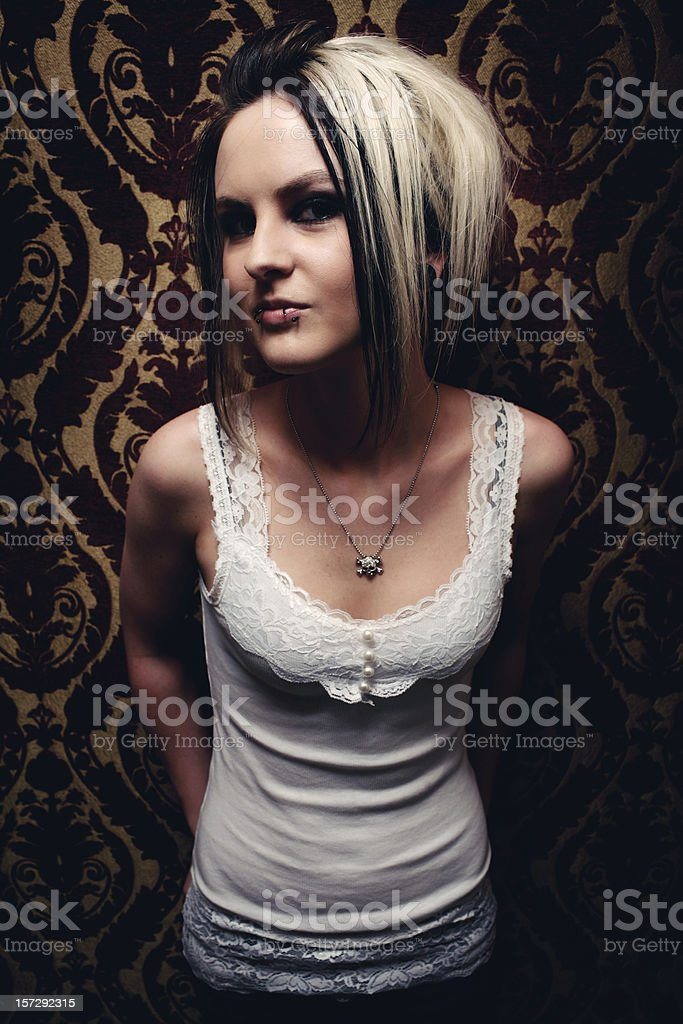 Young Hipster Female with Blonde and Black Hair stock photo