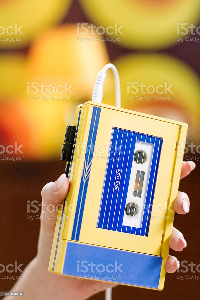 Young Hipster Woman With Walkman stock photo