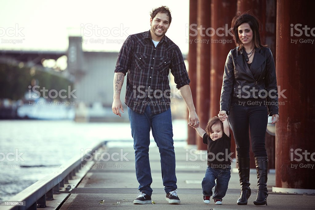 Young Hispanic Family and Child stock photo