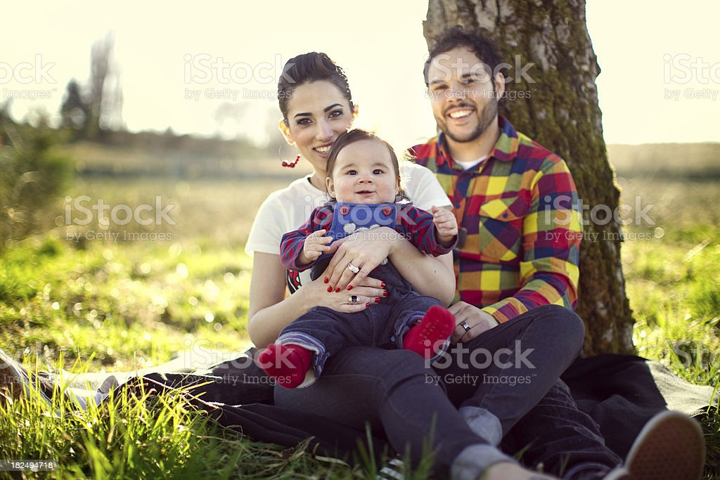 Young Hispanic Family and Child royalty-free stock photo