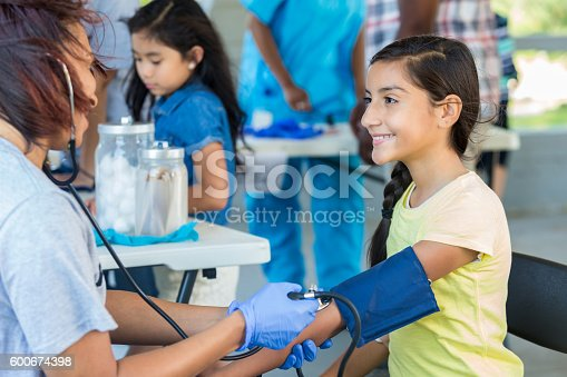 istock Young Hispanic patient getting blood pressure checked by nurse 600674398