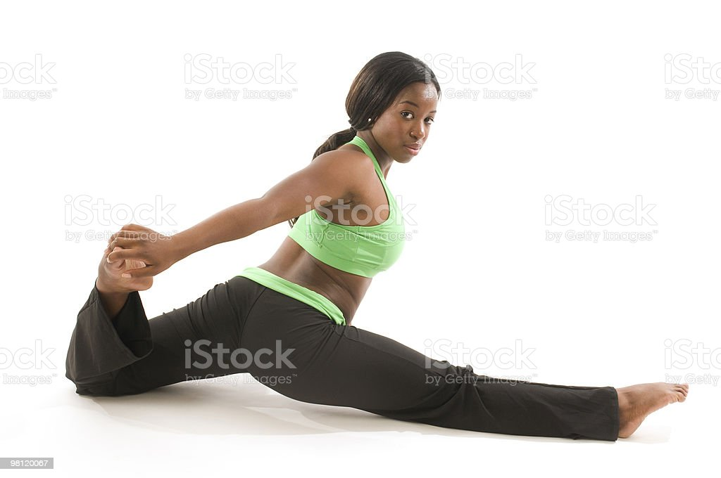 young hispanic woman exercising in fitness tights royalty-free stock photo