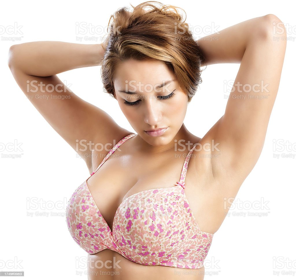 Young Hispanic Woman in Pink Spotted Bra royalty-free stock photo
