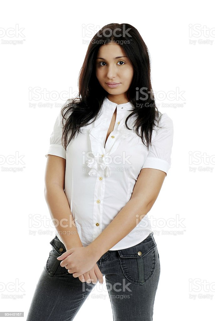 Young hispanic Frau mit Händen verschränkt Lizenzfreies stock-foto