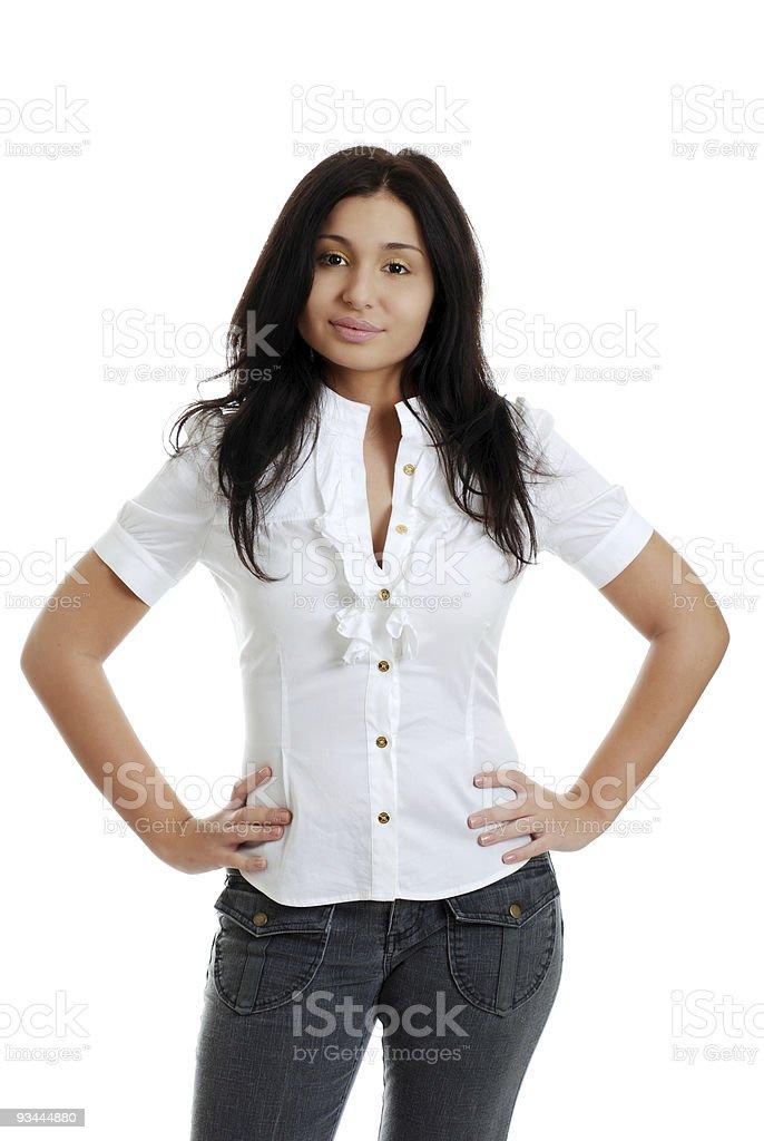 Young hispanic Frau mit Händen auf den Hüften Lizenzfreies stock-foto
