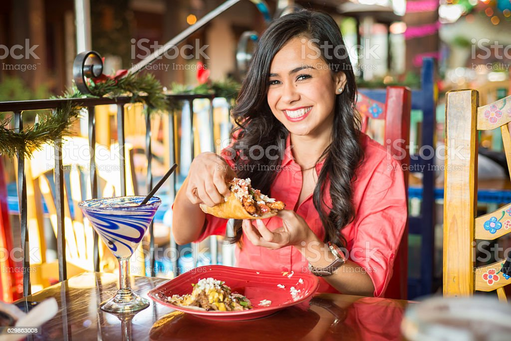 Young Hispanic Women At Mexican Restaurant - Photo
